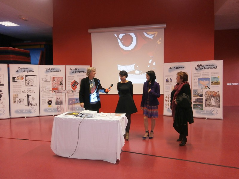 Conférence avec les ministres Najat Vallaud-Belkacem et Fleur Pellerin, collège de Malakoff (2015)