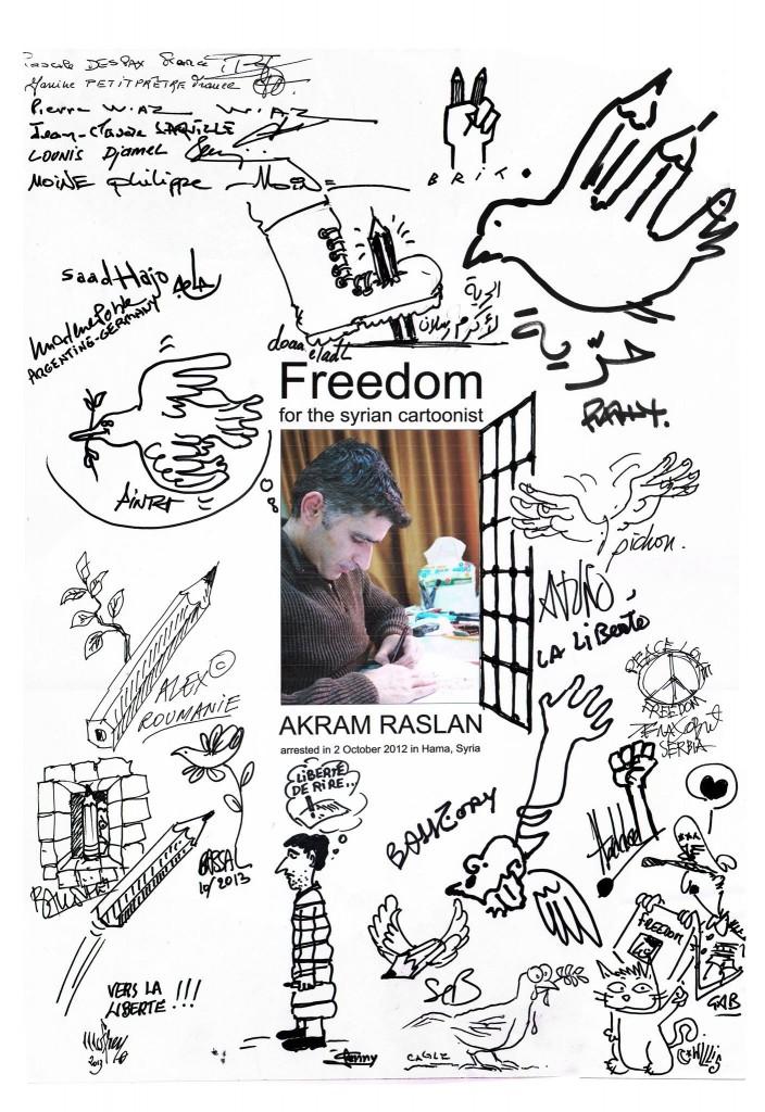 Réunis au festival de Saint-Just Le Martel en septembre 2013, les dessinateurs de presse signent un appel pour la libération d'Akram Raslan