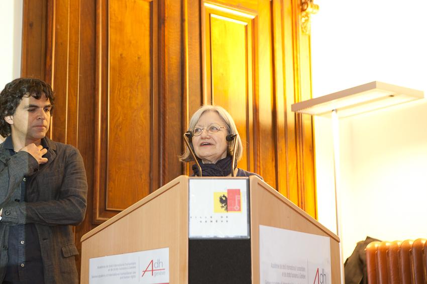 Chappatte et Marie Heuzé, Vice-Présidente de la Fondation Cartooning for Peace