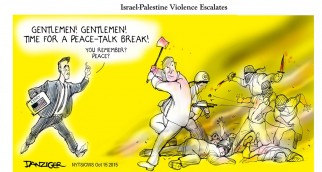 """Escalade de la violence entre Israéliens et Palestiniens """"Messieurs ! Messieurs ! C'est le moment de faire une pause pour parler négociations de paix ! Vous vous souvenez ? La paix ?"""""""