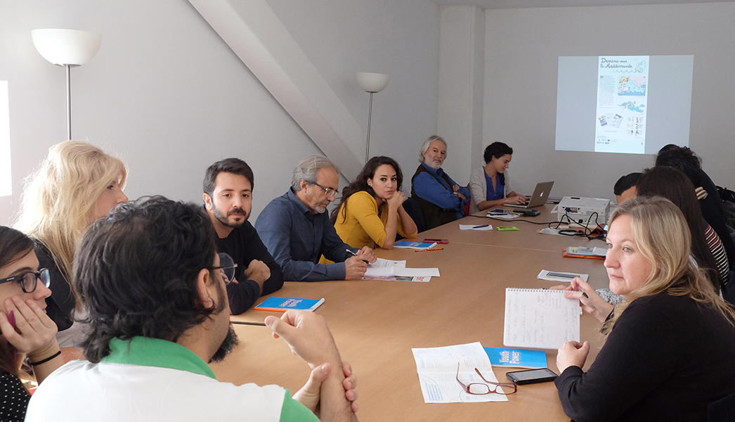 Working session about the exhibition roaming throught Mediterranean countries, with NET-Med Youth members (UNESCO)