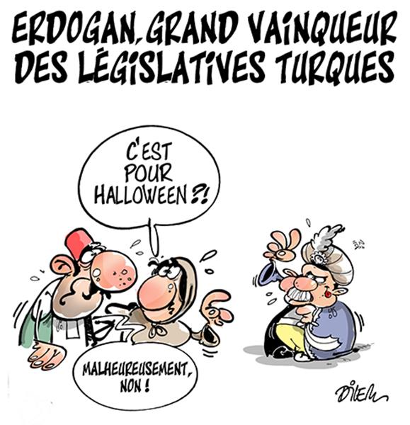 """Erdogan, winner of legislative elections : """"Is that for Halloween?"""" – """"Unfortunately not"""" – Dilem (Algeria)"""