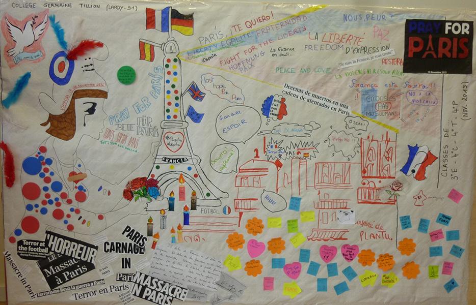 Dessin en hommage à Paris,  suite aux attentats du 13 nov. Elèves de 4ème du College Germaine Tillion (Lardy)