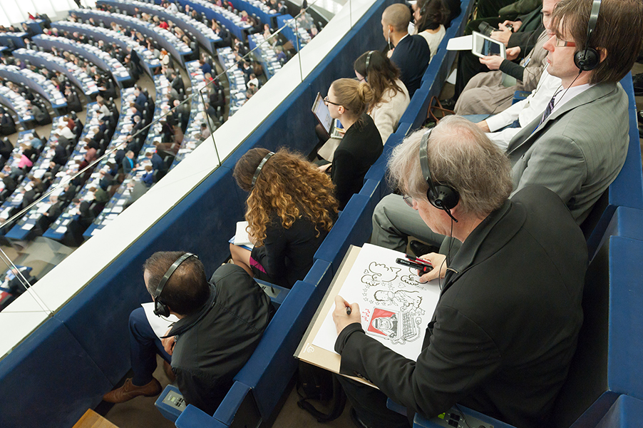 Drawing live during the Sakharov Prize Ceremony