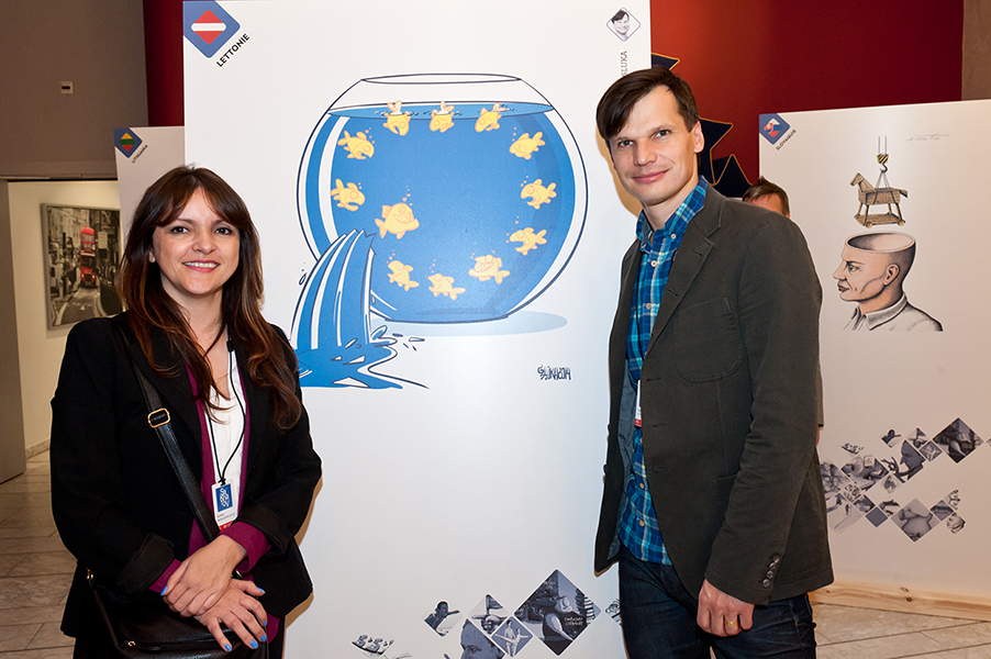Cartoonists Nani (Spain) and Gatis Sluka (Latvia)