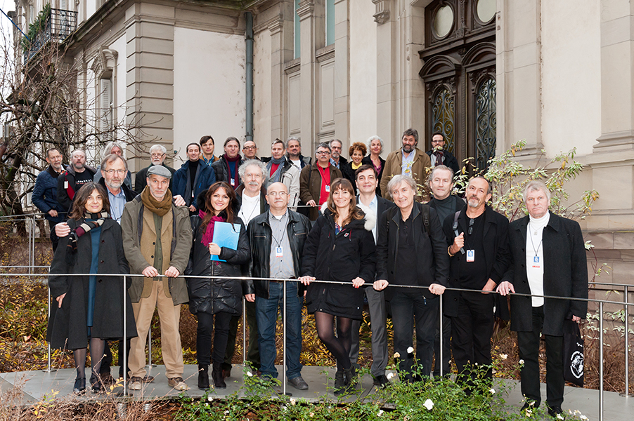 The 28 cartoonists in Front of Tomi Ungerer Museum, December 16