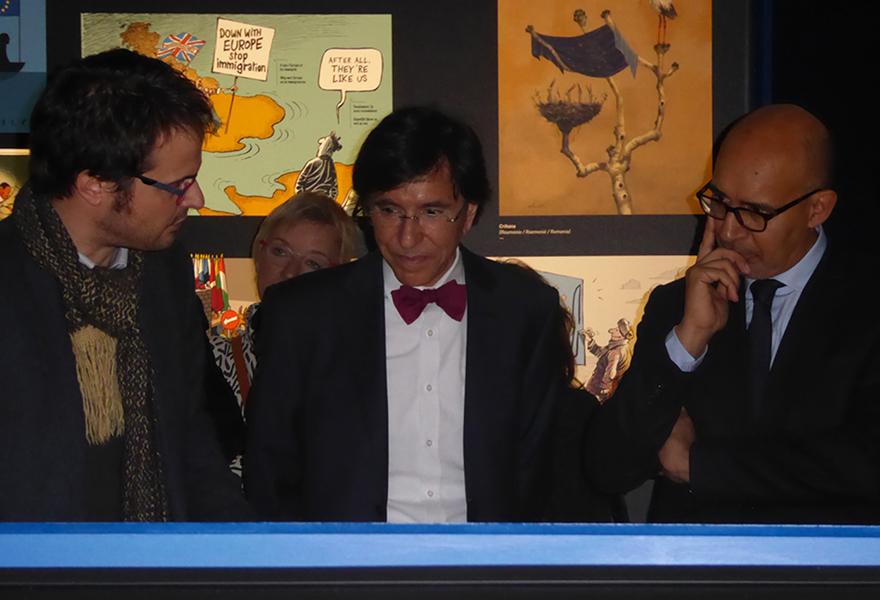 Nicolas Vadot (curator), Elio di Rupo (Mons's burgomaster) and Harlem Désir (State Secretary for European Affairs)