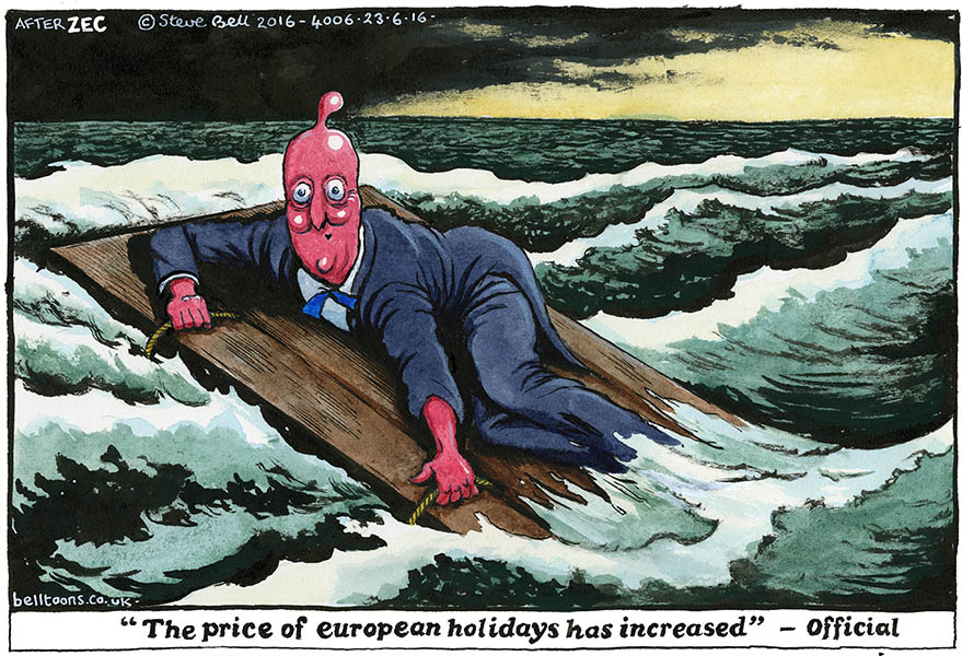 Steve Bell (United Kingdom), published in The Guardian (after the cartoon by Philip Zec, 1942)