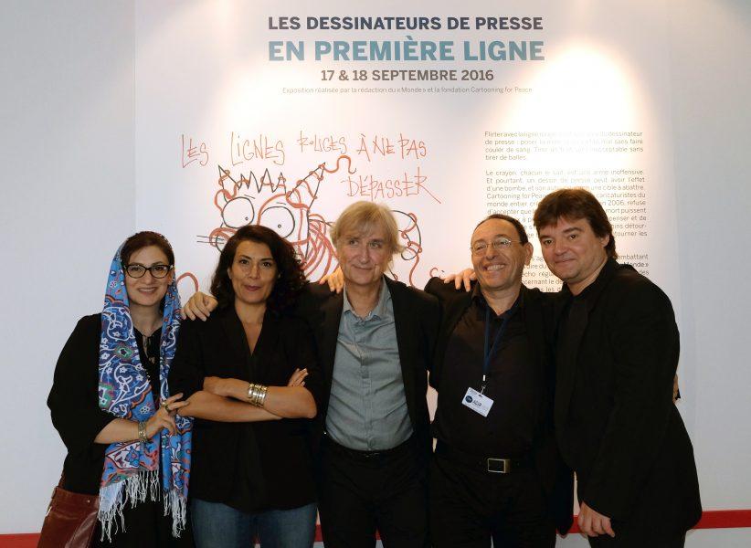 Exposition «les dessinateurs de presse en première ligne» au Monde Festival – Firoozeh (Iran), Willis from Tunis (Tunisie / Tunisia), Plantu (France), Kichka (Israel), Mykaïa (France)