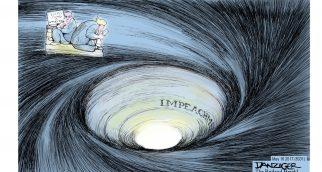 « M. McConnell (chef de la majorité républicaine au Sénat) dit qu'il souhaiterait 'moins de drame de la part de la Maison Blanche'» « Destitution » « Tout baigne »