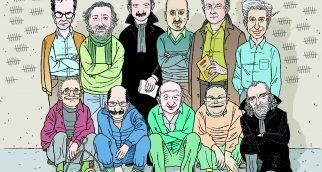Onze des détenus de l'équipe de Cümhuriyet/Eleven of the Cümhuriyet prisoners. Debout de gauche à droite/Standing left to right: Kadri Gürsel, Murat Sabuncu, Kemal Güngör, Ahmet Sik, Turhan Günay et/and Musa Kart. Accroupis de gauche à droite/Sitting from left to right: Önder Çelik, Güray Öz, Akin Atalay, Hakan Kara et/and Bülent Utku.