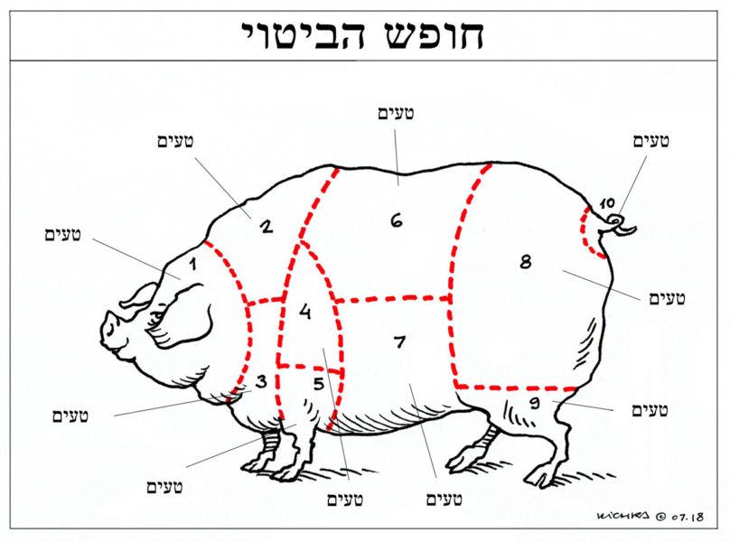Dessin de soutien de Kichka (Israël) Titre : «Liberté d'expression» / Les flèches de chaque numéro : «Délicieux»