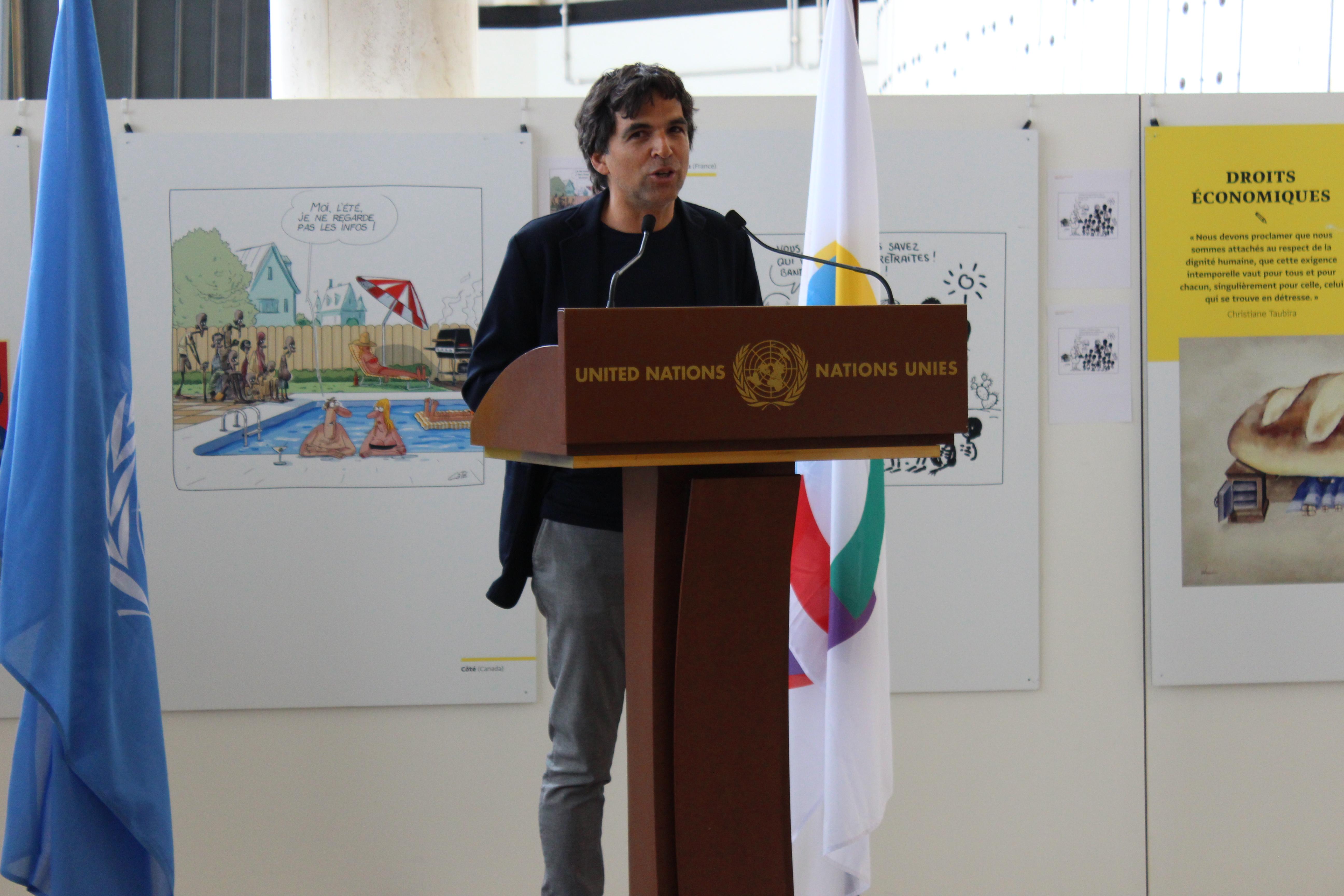 Patrick Chappatte (Switzerland), Vice-President Cartooning for Peace Foundation in Geneva – photo: UN Geneva : Programme des activités culturelles