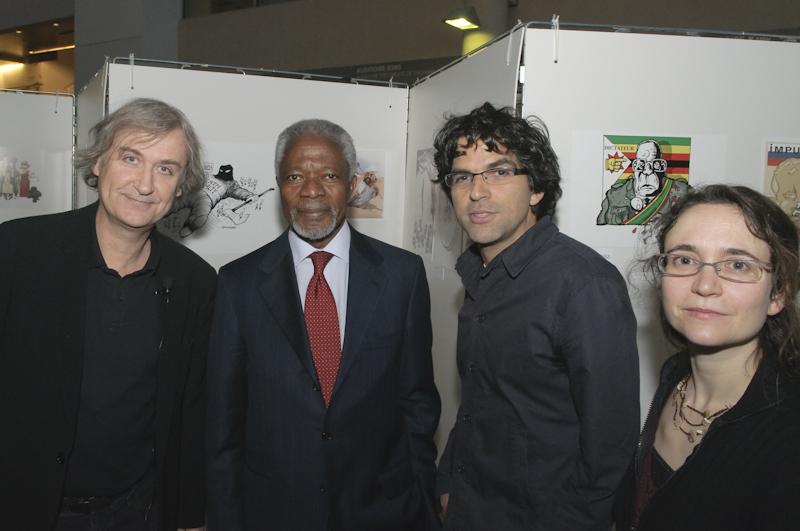 Plantu, Kofi Annan, Chappatte and Benedicte (Switzerland)