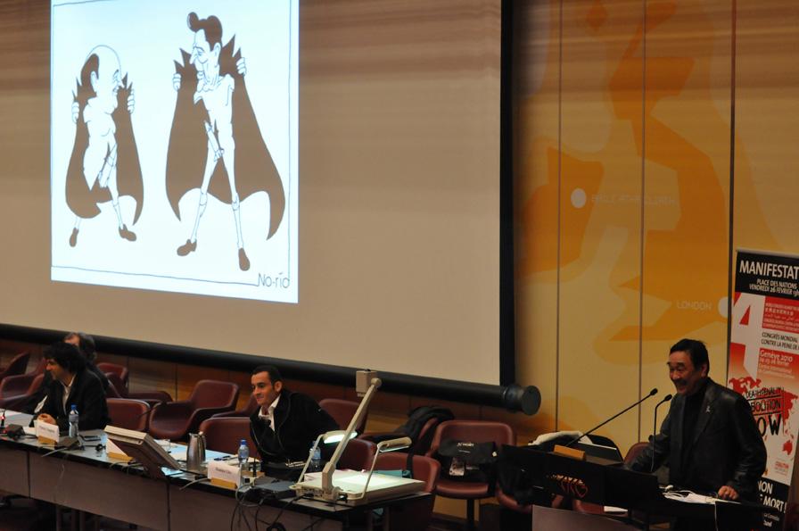 Debate with cartoonists No-rio (Japan), Gelz (Burkina Faso) and Chappatte (Switzerland)