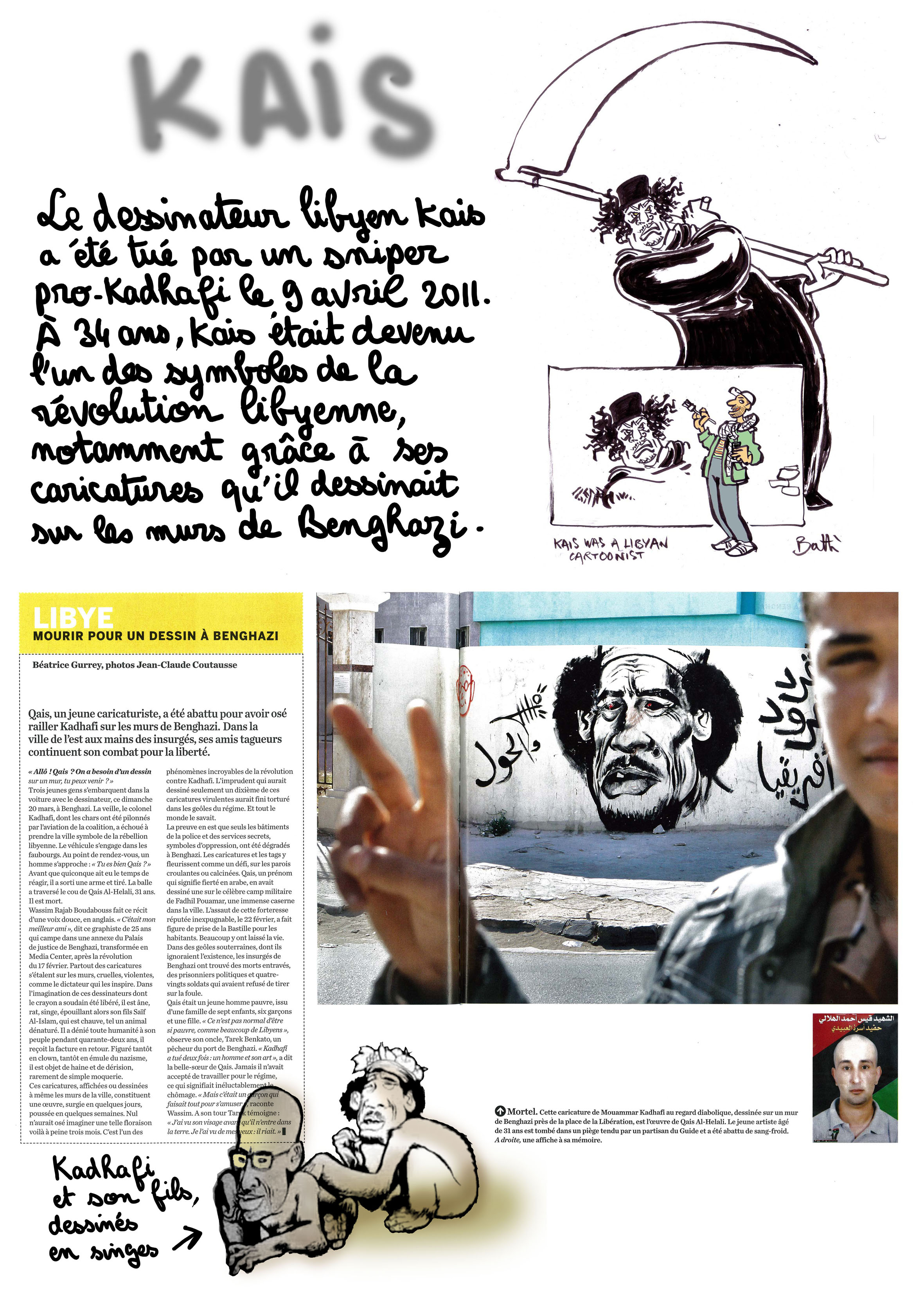 Support of Plantu and Cartooning For Peace to the libyan cartoonist Kais