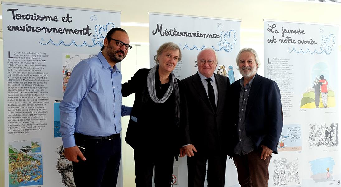 Inauguration de l'exposition le 10/11/2015, avec Nidhal Ghariani (Tunisie), Plantu, M. Vauzelle (Président de la Région PACA) et Izel (Turquie) – Villa Méditerranée