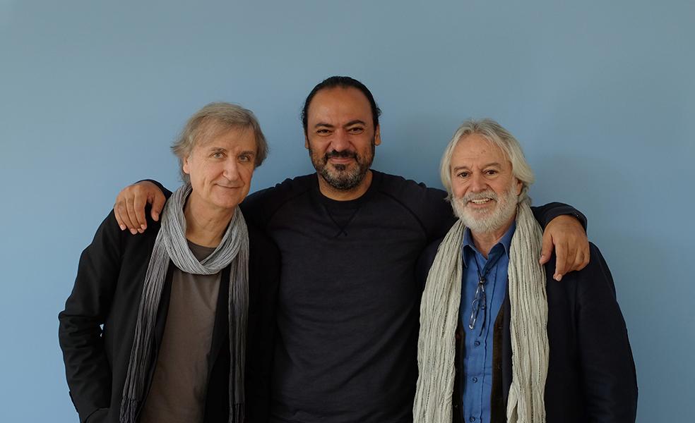 Les dessinateurs Plantu, Nidhal Ghariani et Izel Rozental
