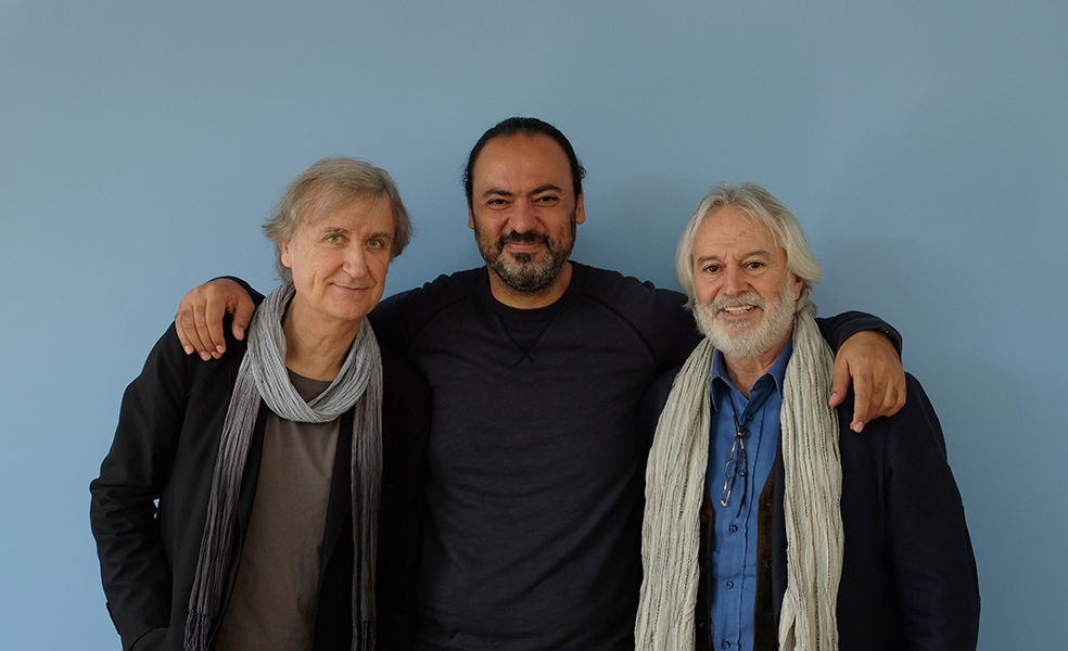Cartoonists Plantu (France), Nidhal Ghariani (Tunisia) and Izel (Turkey)