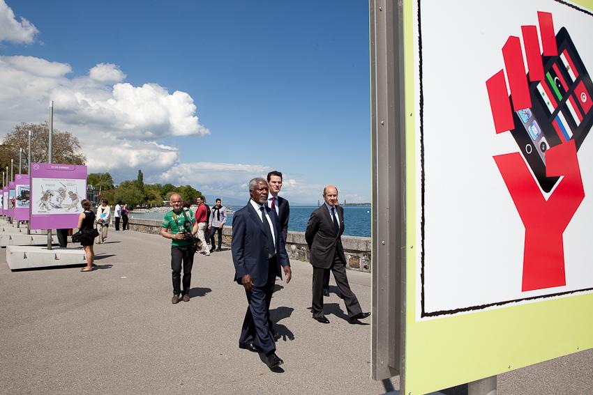 Inauguration de l'exposition par Kofi Annan et Pierre Maudet (Maire de Genève)