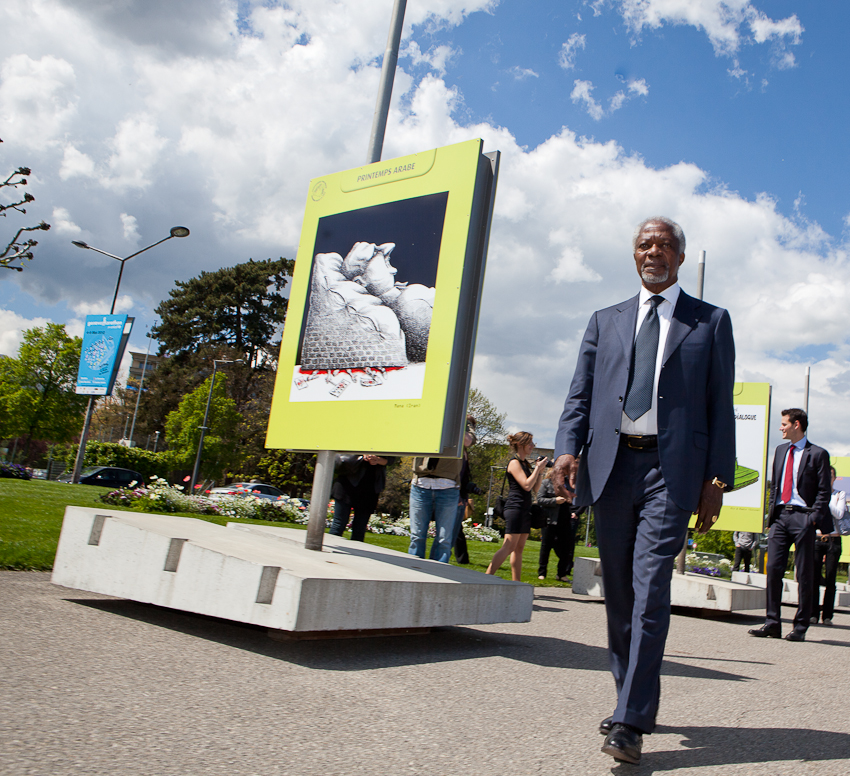 Kofi Annan, during the opening of the exhibition, on May, 3 2012.