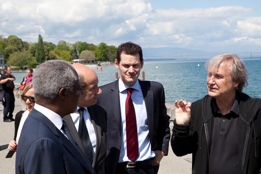 Inauguration en présence de Plantu, Pierre Maudet (Maire de Genève) et Kofi Annan