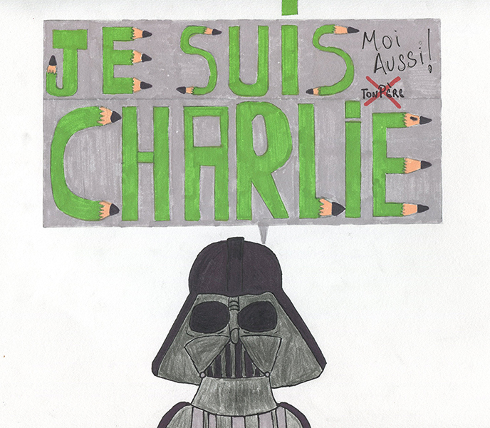 After Charlie Hebdo Attacks – Drawing workshop at College Camille Saint Saens (Lizy-sur-Ourcq – France)