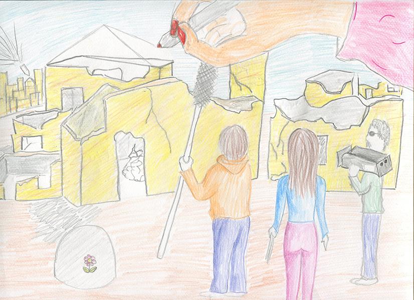 Dessin réalisé par les élèves du collège Camille St Saens (Lizy-sur-Ourcq)