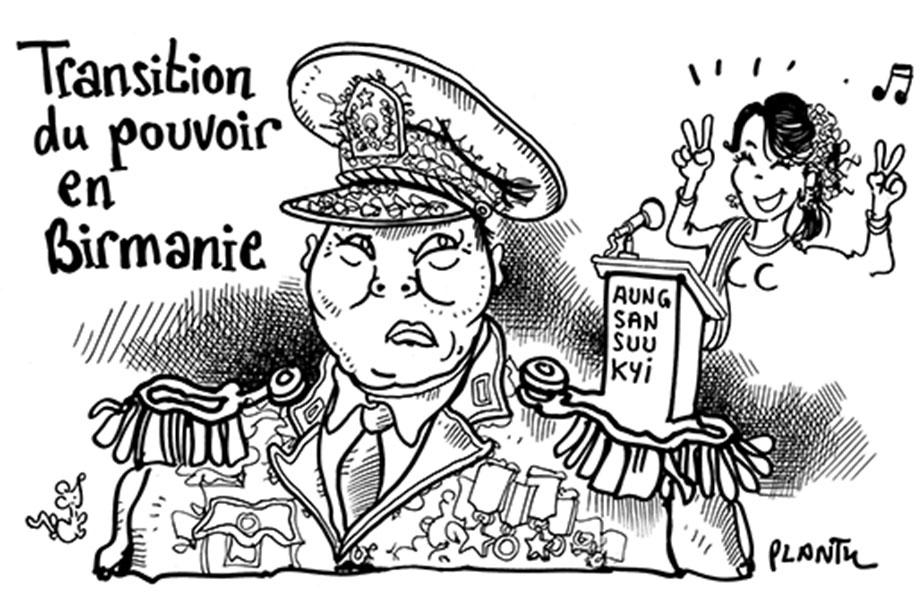 """Power's transition in Myanmar"" – Plantu (France), in Le Monde"
