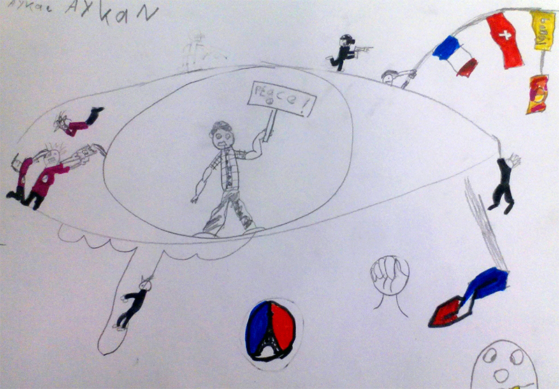 After November 13 attacks – Pupils of The International School in Geneva (Workshop with Cartoonist Hani Abbas)