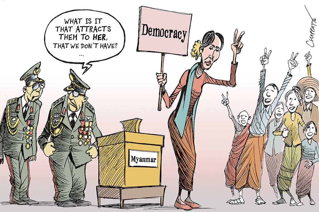 "Myanmar: ""Lady"" Aung San Suu Kyi's victory - Cartooning for Peace"