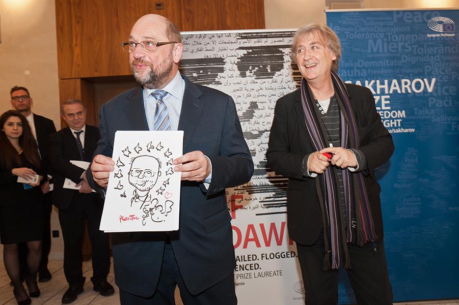 Martin Schulz, Président du Parlement Européen, par Plantu