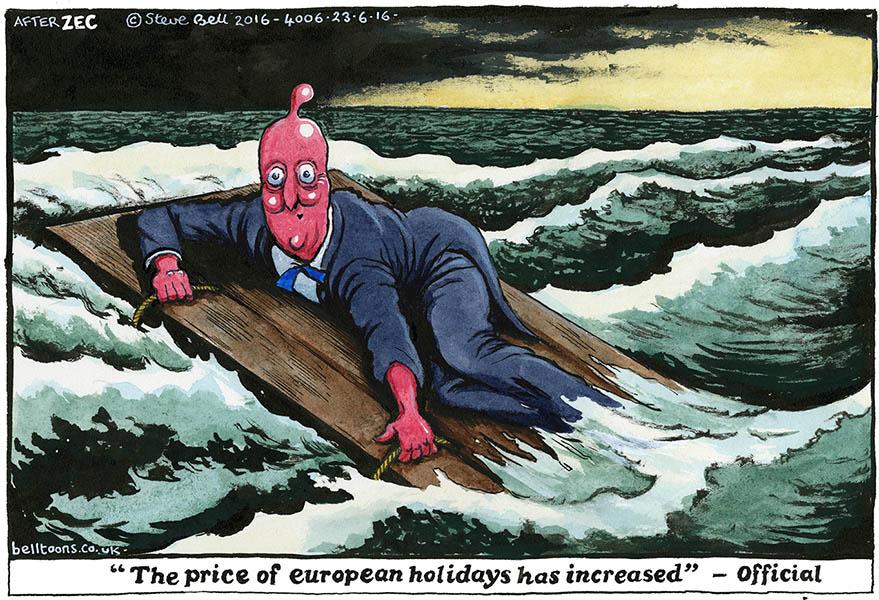 Steve Bell (Royaume-Uni), publié dans The Guardian (d'après le dessin de Philip Zec, 1942)