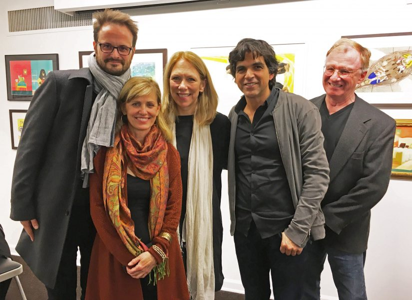 Dessinateurs à NY / Cartoonists in NYC – Nicolas Vadot (Belgique / Belgium), Ann Telnaes (USA), Liza Donelly (USA), Patrick Chappatte (Suisse / Switzerland) and Jeff Danziger (USA)