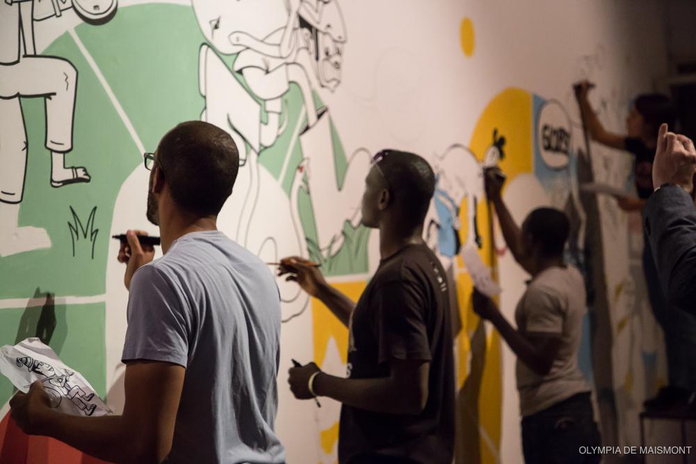 Fresque collective à l'Institut français © Olympia de Maismont
