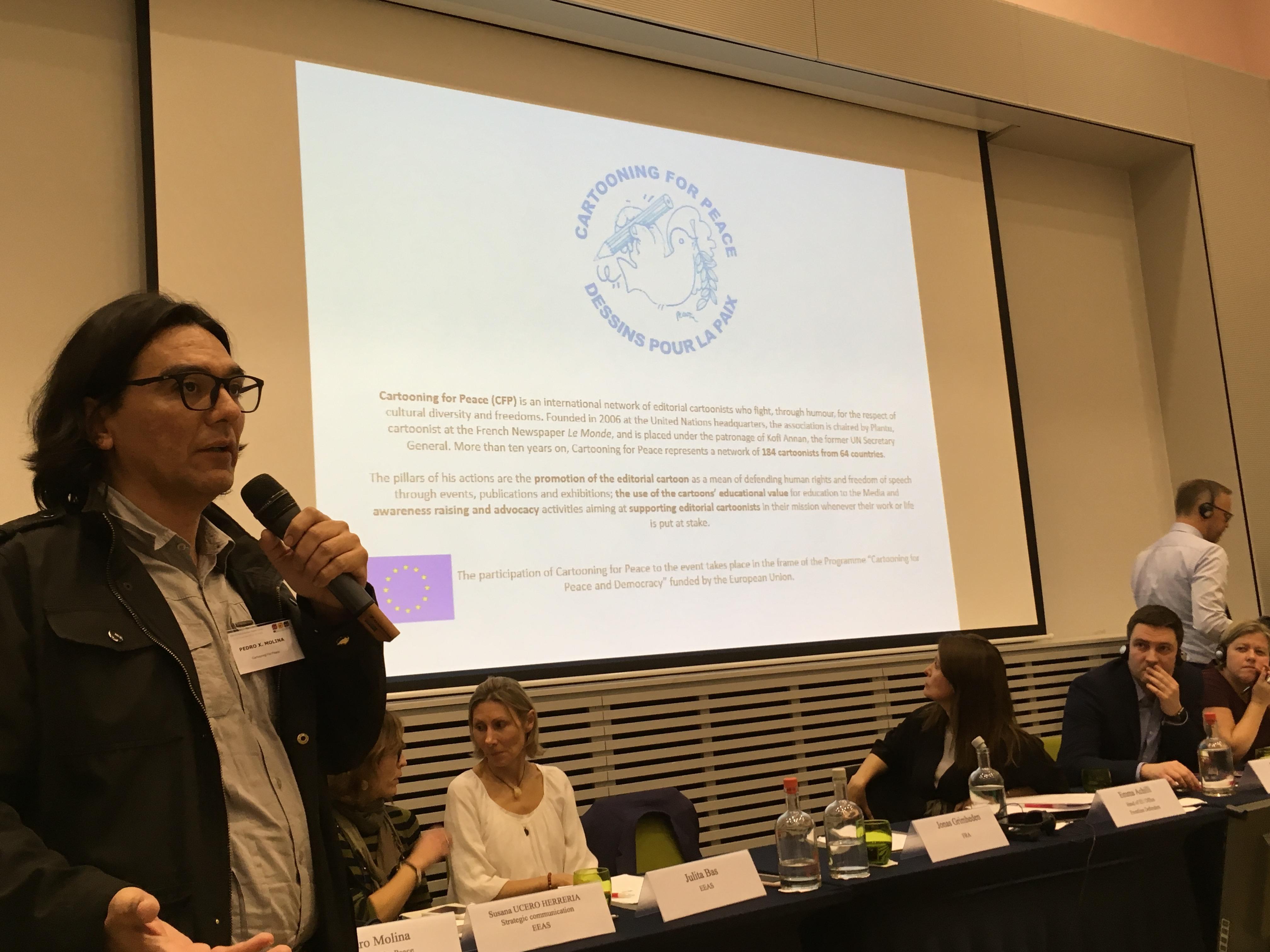 Pedro x. Molina at panel discussion at EU NGO Forum