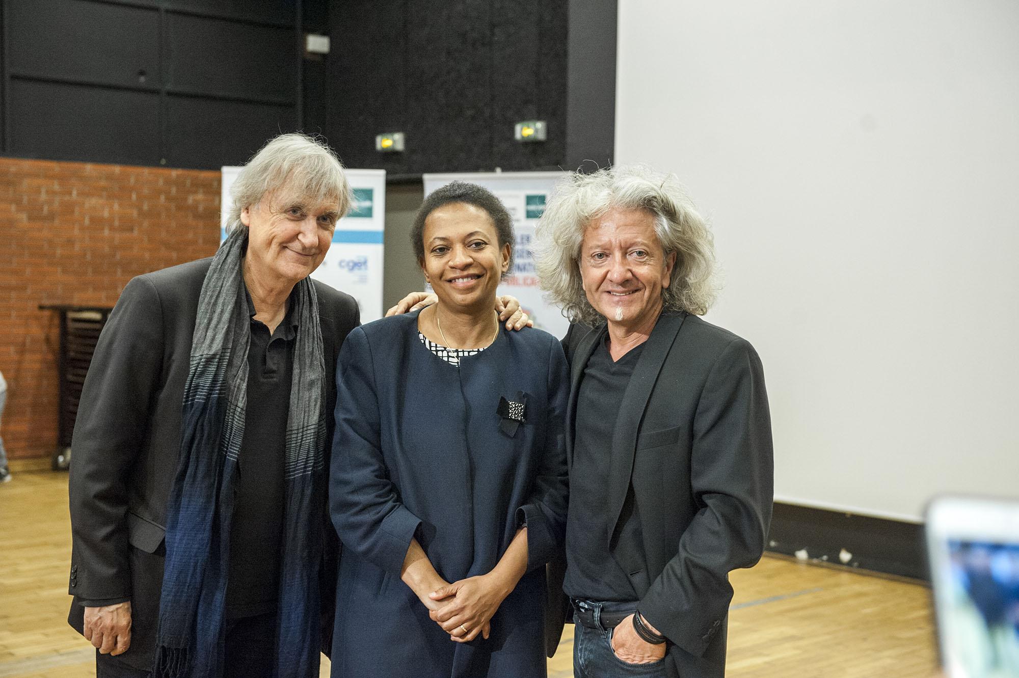 Hélène Geoffroy, maire de Vaulx en Velin, Plantu (France) et Kristian (France) – Photo : Thierry Chassepoux