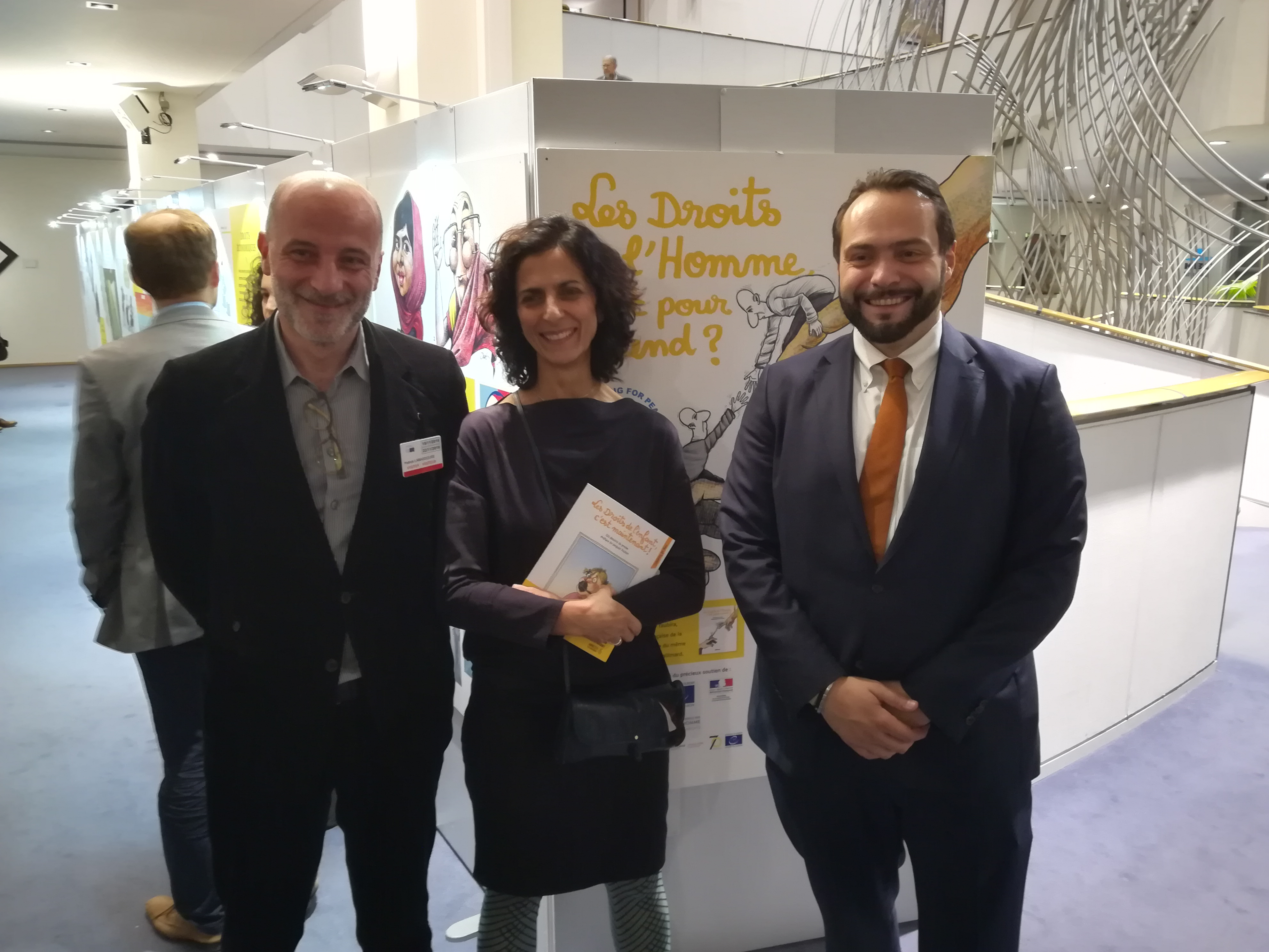 Opening of the exhibition with Kak, president of Cartooning for Peace, Maria Arena, European deputy, and Fabio Castaldo, Vice-President of the European Parliament