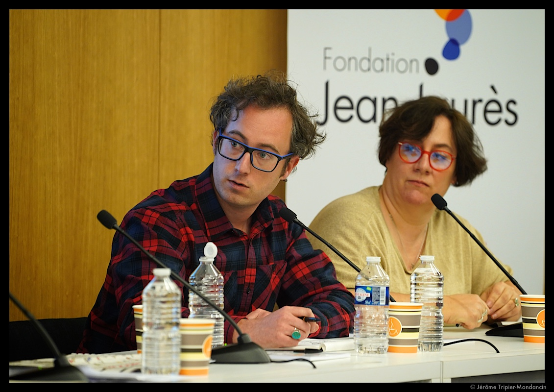 Juin (Charlie Hebdo) et Virginie Lepetit (Courrier International) – photo : Jérôme Tripier-Mondancin