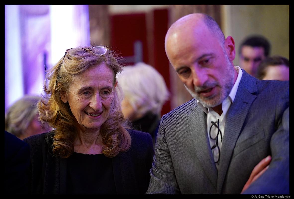 Nicole Belloubet et Kak, président de Cartooning for Peace © Jérôme Tripier-Mondancin